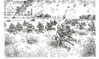 Gravure-bataille-Gozee-1914